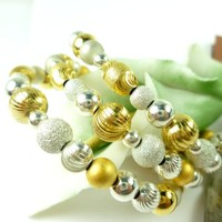 Sterling Silver Gold Two Tone Beaded Coil Bracelet Memory Wire