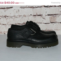 90s Chunky Shoes US 8 Oxford Mega Platform Ankle Boots Black Genuine Leather Grunge Cyber Pastel Punk Hipster Goth Gothic buckle