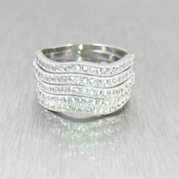 Sterling Silver CZ Stacking Rings. Wide Pave Set Cubic Zirconia Eternity Band Ring. Five Stacked Hinged Wedding Band Rings.