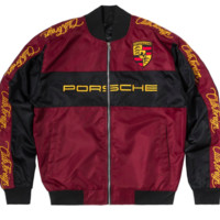 Club Foreign Black Horse Racing Jacket in Burgundy