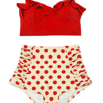 Red Midkini Top and Pollka dot Highwaisted High Waisted Waist Pin up Classic Retro Swimsuit Swimwear Bikini set Swim Bathing suit wear S M L