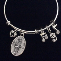 Saint Cecilia Patron of Music Silver Expandable Charm Bracelet Adjustable Wire Bangle Catholic Medal Gift Meaningful Inspirational