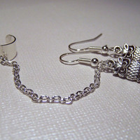 Chain Ear Cuff with Cute Owl Earrings Set by stonehorsedesigns