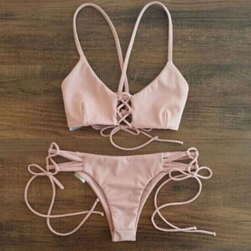 Women's Pink Bikini Swimsuits Two Pieces
