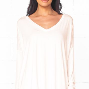 Piko 1988 Bamboo Off White Ivory Long Dolman Sleeve V Neck Piko Bamboo Loose Basic Tunic Tee Top
