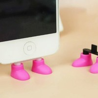 ZOEAST Creative 2 in 1 Cute 8 Colors Shoes iPhone Stand Data Port Dust Plug Smart Phone Shoes Dust Stopper Dustproof Charm iPhone 4 4S Samsung Shoe Phone Stand (iPhone 4/4S, Pink)
