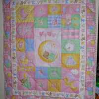 Quilt , BabyGirl, Crib, Over the Moon, Pink, Yellow, Green