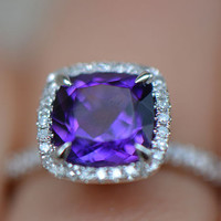 VS Cushion Amethyst Ring Claw Prongs Pave Diamonds 14K White Gold 8mm Wedding Ring,Anniversary Ring