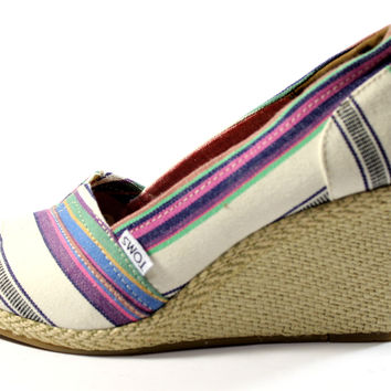 Toms Women's Wedge Village Stripes Sandals Shoes