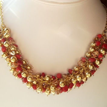 Pearl and Crystal Necklace, Bridal Jewelry, Red and Gold Chunky Necklace, Christmas Necklace, Gift
