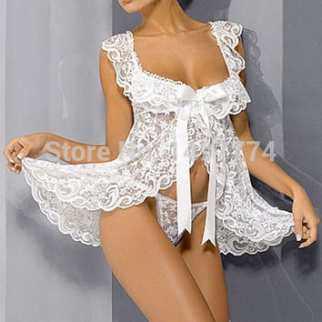 White Lace Baby Doll Sexy Lingerie Plus Size 4XL Bridal Nightgown Sets