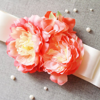Bridal Ribbon Sash Belt - Wedding Dress Sashes Belts - Cherry Coral Pink Champagne Mixed Bunch Flowers