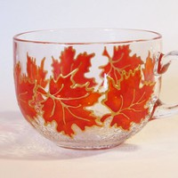 Glass Tea Mug Big Mug Autumn Leaves Maple Leaves Hand Painted Mug Large Coffee Mug Maple Leaves Glasses Mom Mug Feather Cup Unique CoffeeMug