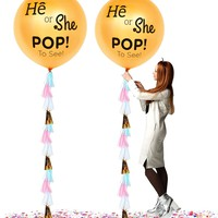 """PartyFuFu 36"""" Gender Reveal Balloon with Confetti He Or She Pop to See With Tassel (Gold)"""