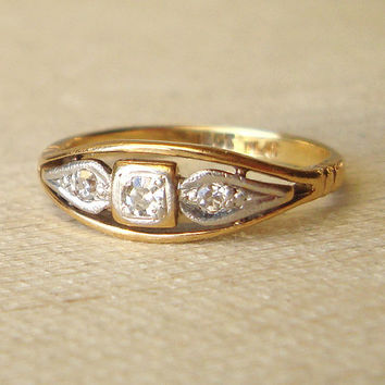 Art Deco Diamond Engagement Ring, Antique Platinum Diamond & 18k Gold Wedding Ring Approx. Size US 5.5