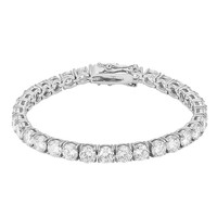 Elegant 6mm Solitaire Designer Tennis Link Steel Bracelet 14k White Gold Finish