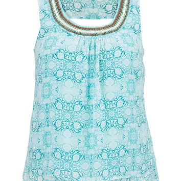 Plus Size - Beaded Neck Open Back Tiered Tank - Cool Aqua Combo