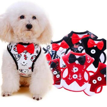 Breathable Dog vest harness Nylon dog harness and leash set for small dogs Cat Pet Dog Chest Strap Leash Vest-style dress bow