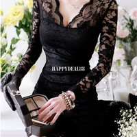 Black Women Girl Sexy V-neck Lace Slim Cocktail Clubbing Party Mini Dress M-XL