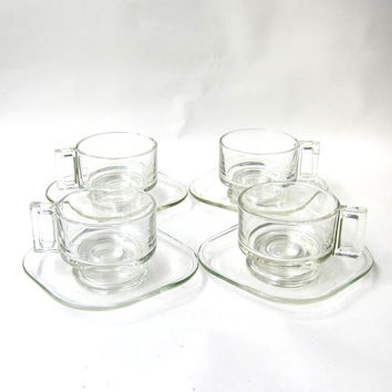 Vintage 1960s Italian Joe Columbo set clear glass cups and saucers