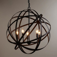 Large Metal Orb Chandelier