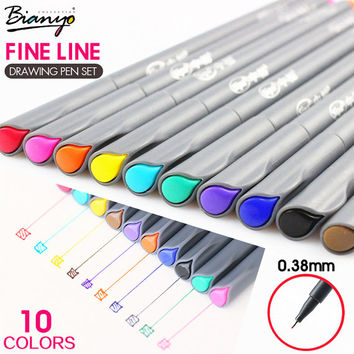 10 Fineliner Gel Pens 0.38mm / Colored Pens / Sketch Pens / Fine Tip Markers / Fineliners / Sketch Markers / Fineliner Set / Marker Pens