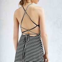 Silence + Noise Ribbed Lace-Up Back Fit + Flare Dress
