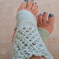 Yoga Socks - Toeless BalletSocks,  Pilates, Dance Warmers, Crocheted Aqua, For Her