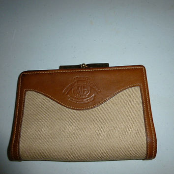 Vintage Ghurka Marley Hodgson Khaki Twill Leather Small Wallet Coin Purse Combination