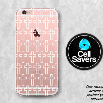 Cross Pattern Clear iPhone 6s Case iPhone 6 Case iPhone 6 Plus Case iPhone 6s Plus iPhone 5c Case iPhone 5 Case Clear Case White Tumblr Cute