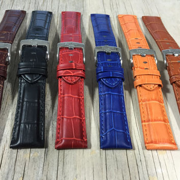 Genuine Leather Watch Band, 18mm, 20mm, 22mm, 24mm, 26mm Alligator Style, Comes in Black, Brown, Tan, Royal Blue, Orange and Red