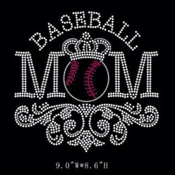 Baseball Mom Iron on Rhinestone Hot fix bling transfer - DIY baseball bat design motif appliqué shirts, scroll, heat, hotfix, mother, pink