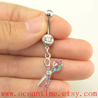scissors Belly Button jewelry,hairstylist Navel Jewelry,cool belly button rings,friendship gift,oceantime