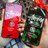 Stussy Fashion Women Men Personality Letter Glass iPhone Phone Case 6/7/8Plus iPhone X Phone Shell