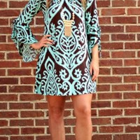 Pink Coconut Boutique | PLUS SZ- Damask and Sass Tunic/Dress - Mint/Chocolate