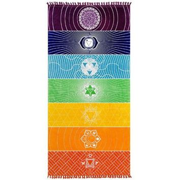 7 Chakra Wall Hanging Yoga Mat Beach Towel