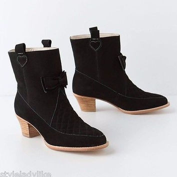 NIB $298 Anthropologie Nubuck Bow Booties Sz 38 - by F-Troupe - Run Small