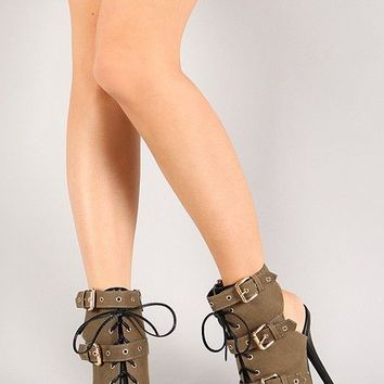 Wild Diva Bridget-38 Lace Up Strappy Buckle Heels Shoes Booties Olive