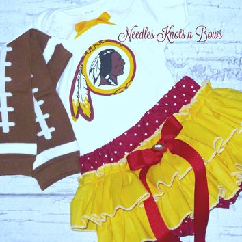 Girls Washington Redskins Cheerleader Outfit, Baby Girls Redskins Coming Home Outfit, Girls Football Bloomer Outfit