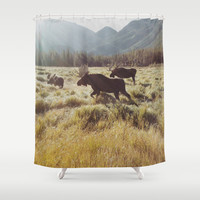 Three Meadow Moose Shower Curtain by Kevin Russ