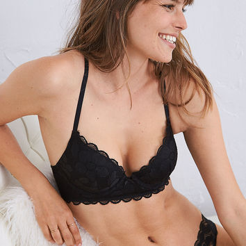 Brooke Plunge Pushup Bra, True Black