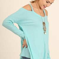 Evening Out Cold Shoulder Top - Mint