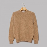 Jamieson's Brushed Lambswool Crew Neck (Camel) | Oi Polloi