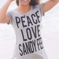 Peace Love Sandy Feet Gray Short Sleeve Graphic Tee