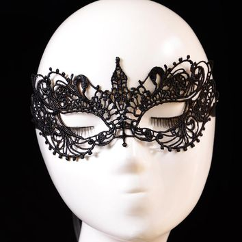 Lady Black Lace Floral Eye Mask Venetian Masquerade Fancy Party Dress