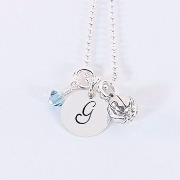 Sterling Silver Basketball Initial Necklace, Basketball Mom Necklace with Sterling Silver Basketball Charm and Swarovski Crystal Birthstone