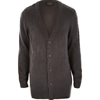 River Island MensGrey fluffy knitted longer length cardigan