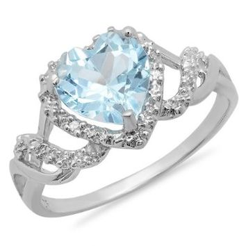 2.22 Carat (ctw) Sterling Silver Heart Shaped Blue Topaz Ladies Engagement Ring:Amazon:Jewelry