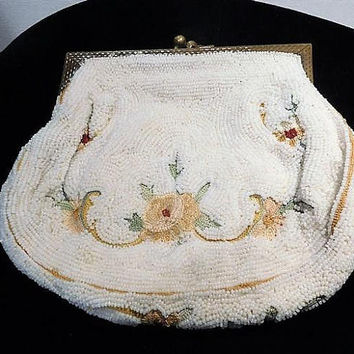 French Micro Bead Coin Purse / Tambour Embroidery / Point de Beauvais Stitch / Made in France / 1940s Fashion