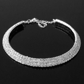 2013 Hot Luxury Bling Rhinestones Collar Necklace For Bride Women Fashion Summer Trendy Jewelry Chunky Ymq = 1930292868